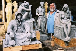 Tienie with some of the figures for The Marriage Market completed in clay - 2006