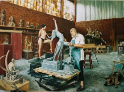 The painting depicting Tienie working with a model in his studio, was done by his son Brindley, a professional painter in his own right.